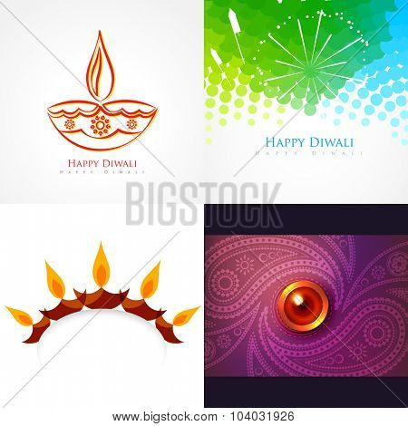 vector collection of diwali background illustration with creative design