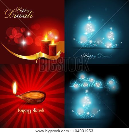 vector collection of beautiful background of diwali with diya and candles