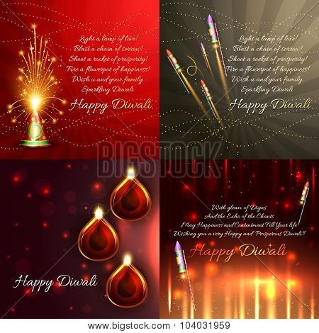 vector set of diwali background with crackers and beautiful diya illustration