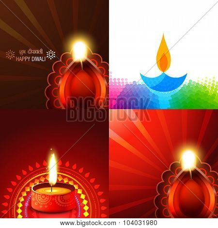 vector set of beautiful different design of diwali diya background illustration, subh deepawali( translation: happy diwali )