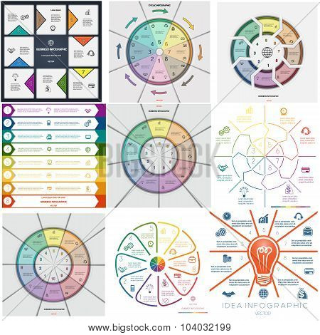 Set 9 Templates Infographics Eight, Nine, Ten Positions
