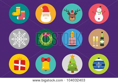 Christmas vector icons set. Christmas tree, Christmas ball, Christmas letter, Christmas birds, Christmas cake. Christmas Gift, socks, ball, snowflake, Christmas Decoration symbols. 2016 New Year icons