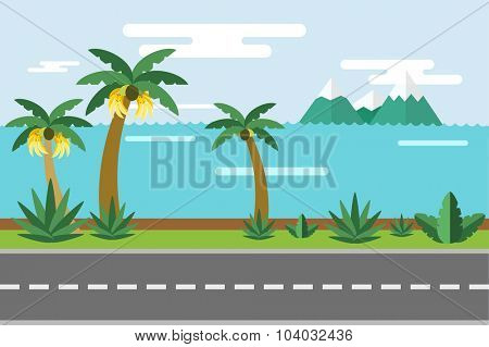 Beautiful colorful summer seascape illustration. Pulm and sea beach. Winter vcation time. Grass, pulm tree, sand, sky, bananas, green landscape background. Summer view, road, palms and bananas. Exotic