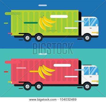 Banana delivery vector truck. Delivery fruits service van. Delivery van vector silhouette. Delivery car icon. Fast delivery truck isolated. Vector delivery truck car driving fast. Banana, export