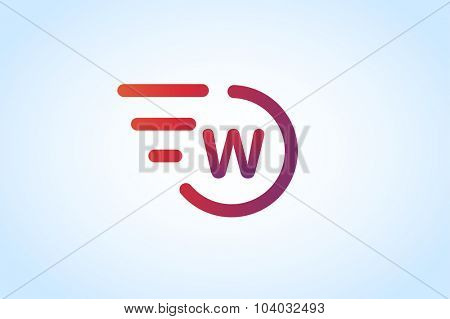 W letter vector. W logo icon monogram. W symbol silhouette. W isolated icon, W line style letter, W logotype, W logotype, W modern symbol, Wave logo. W name company or brand name. Wave vector icon