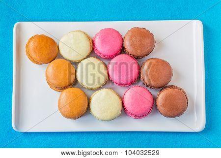Rectangular Plate Of Colorful Macarons