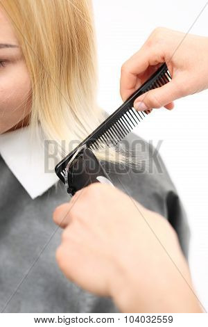 Woman hairdresser cuts hair tips