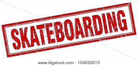 Skateboarding Red Square Grunge Stamp On White