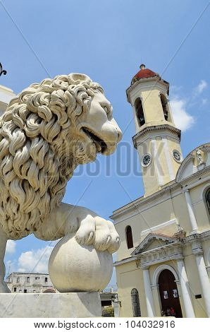 Cathedral of Cienfuegos with lion head (Cuba)