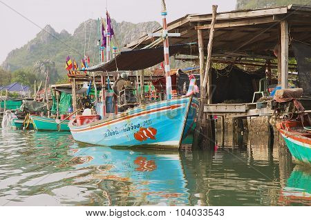 View to the boat tied at the fishermen village in Sam Roi Yot National park, Sam Roi Yot, Thailand.