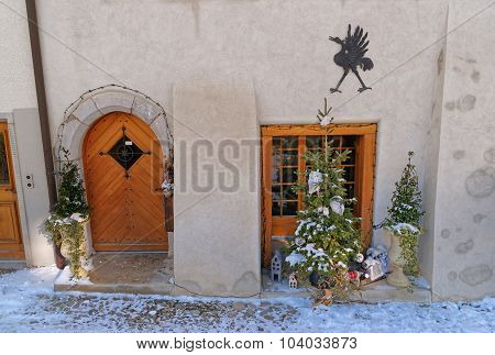 Fragment Of The Building With Christmas Decoration
