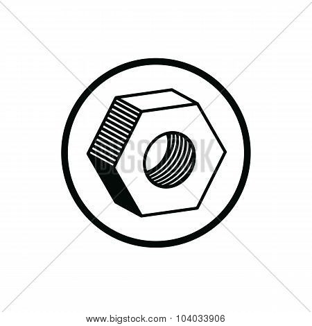 3D Industrial Nut For Use With Bolts, Manufacturing Part Isolated On White. Detailed Vector High Qua