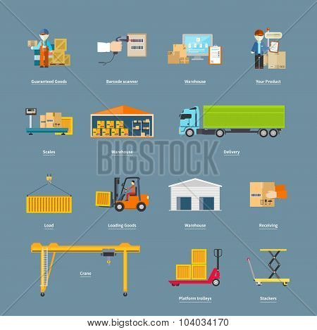 Set of Icons Transport Logistics Concept