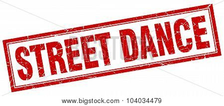 Street Dance Red Square Grunge Stamp On White