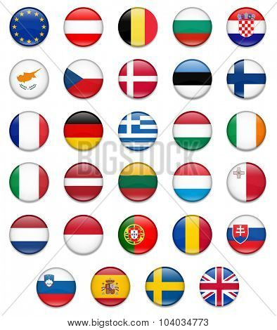 EU Union Button Flag Collection-Complete
