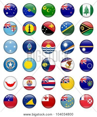 Australia and Oceania Button Flag collection