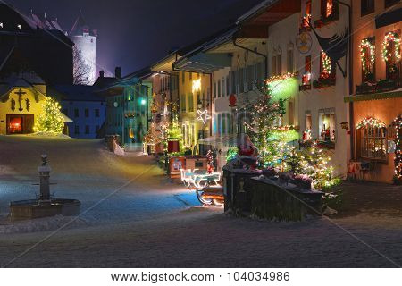 Streets Of Medieval Town Of Gruyeres Decorated For Christmas