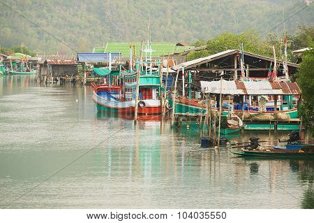 View to the fishermen village in Sam Roi Yot National park, Sam Roi Yot, Thailand.