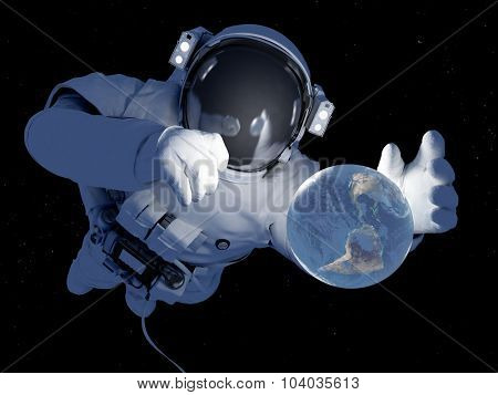 Astronaut with a planet in her hand.