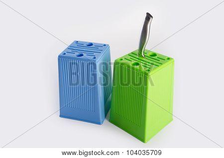 Knife Block. Knife Block On Background. Knife Block On A Background.