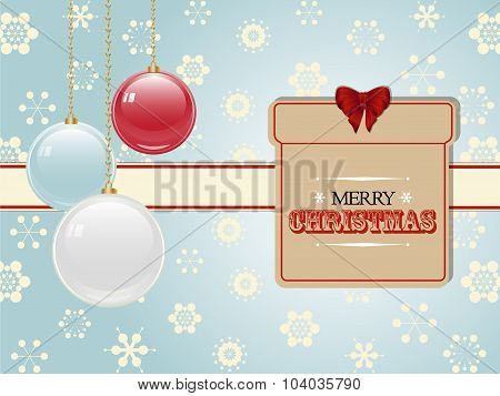Christmas Present Label And Baubles