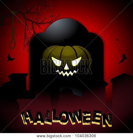 Halloween Tombstone And Pumpkin Background
