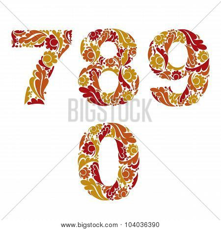 Decorative Numerals With Natural Orange Pattern. Flowery Digits, Vector Calligraphic Numbers.