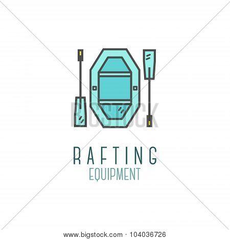 Cute minimal rafting equipment shop icon, logo, label or line badge. Outdoor adventure emblem, nice