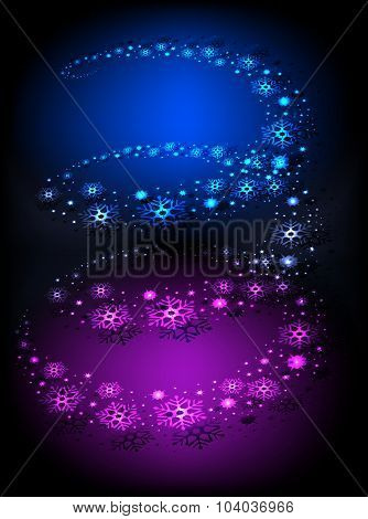 Blizzard swirls in a spiral with snowflakes and bright colored holiday lights. EPS10 vector illustra