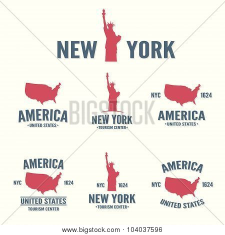 Collection of New York, America, USA icon or logo.  Set of vector stamps, seals, banners, labels, ba