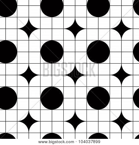 Geometric tiles seamless monochrome vector pattern or background.