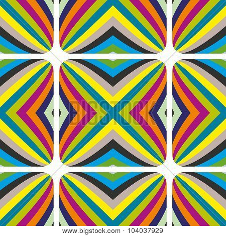 Abstract geometric vector multicolored seamless pattern with illusive effect