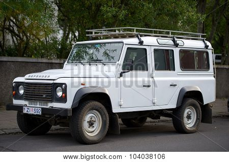 Land Rover Defender on the street