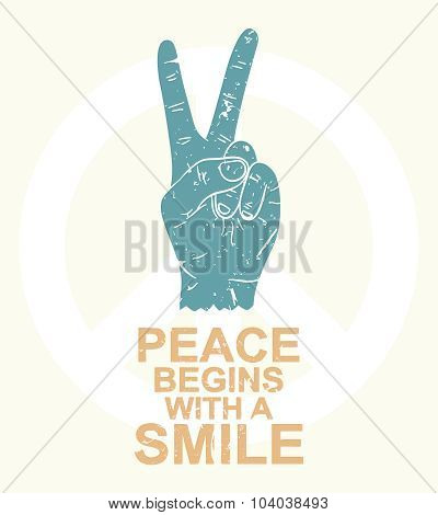 Peace begins with a smile - typography design, t-shirt graphics.