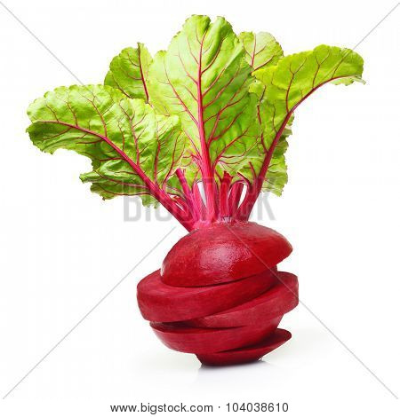 Beetroot with leaves isolated on white background.