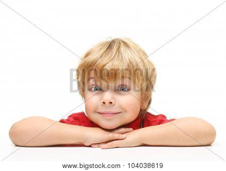 Happy little boy portrait on white background