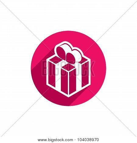 Gift Box Vector Simple Single Color Icon Isolated On White Background