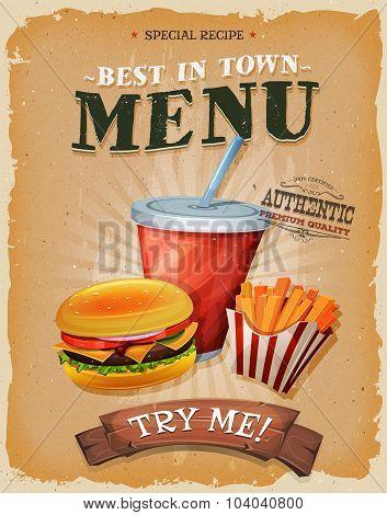 Grunge And Vintage Fast Food Menu Poster