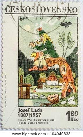 Czechoslovakia - Circa 1970: A Stamp Printed In Czechoslovakia Shows A Painting