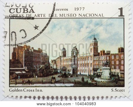 Cuba - Circa 1977: A Stamp Printed In The Cuba Shows Golden Cross Inn, Painting By Samuel Scott, Nat
