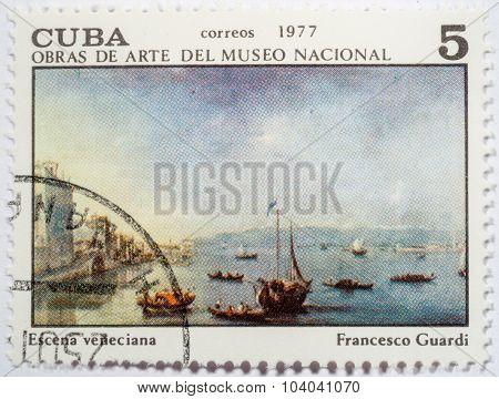 Cuba - Circa 1977: A Stamp Printed In Cuba Shows Image Of Artist Francesco Guardi
