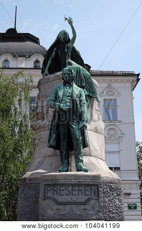 LJUBLJANA, SLOVENIA - JUNE 30: Monument of France Preseren in the center of Ljubljana, Slovenia on June 30, 2015