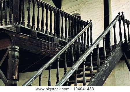 Wooden Vintage Stairs Of Old Castle.
