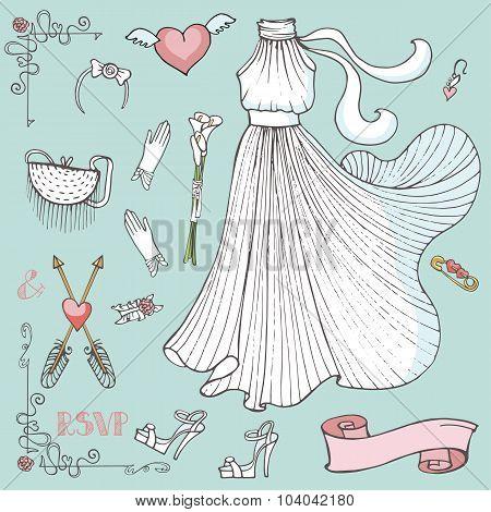 Bridal shower Dress,accessories,decor set.Vintage vector