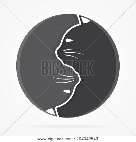 Vector yin yang cats logo