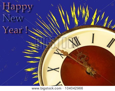 Eve Of New Year.clock Face And Yellow Firework On Blue Backgroun