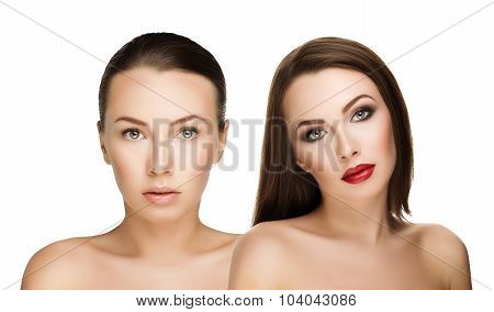 Comparison Portraits Beautiful Girl With And Without Makeup, Before And After. Left Clean Face Nude