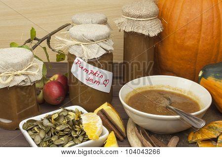 Homemade pumpkin jam and cinnamon.