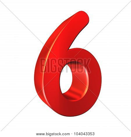 Red Number Collection - Six On White Background