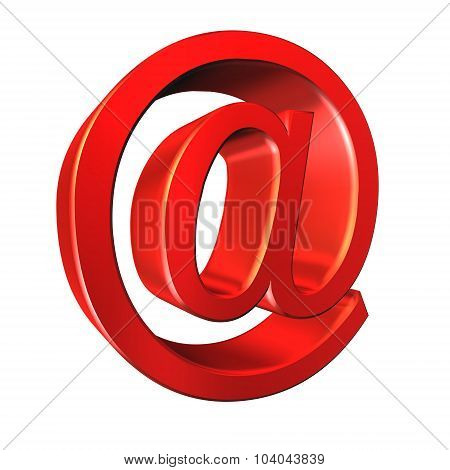E-mail Symbol. Red 'at'. 3D Image On White Background
